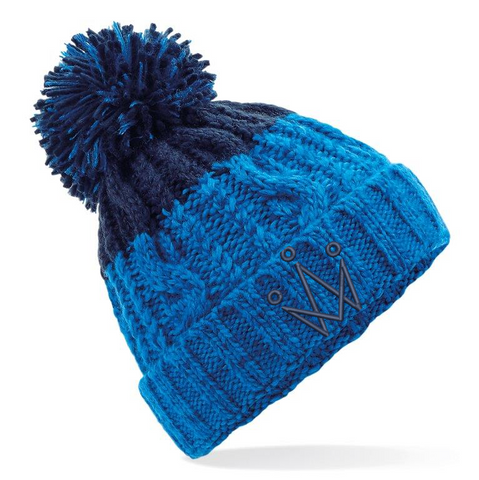 Blue and Navy Bobble Hat