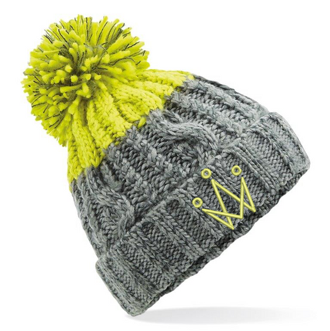 Lime and Grey Bobble Hat