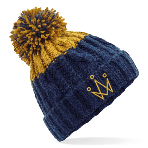 Navy and Mustard Bobble Hat