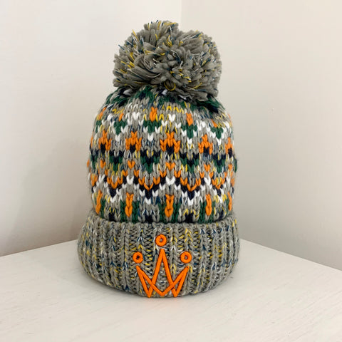 Orange Multi-Coloured Bobble Hat