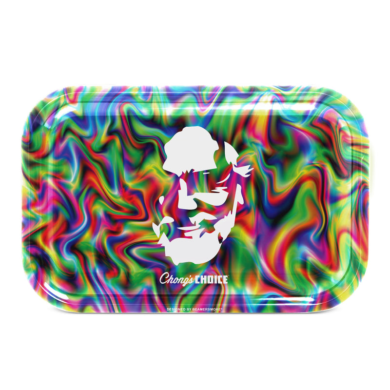 "Tommy Chong Medium Metal Rolling Tray - Trippy Chong (10.75"" X 6.25"") - The Dab Shack"