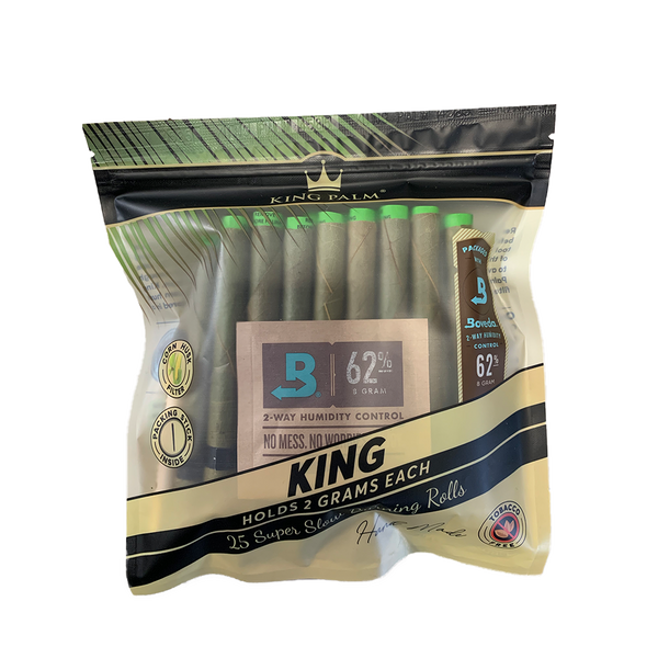 King Palm 25 King Rolls w/ Boveda (Box of 8) - The Dab Shack