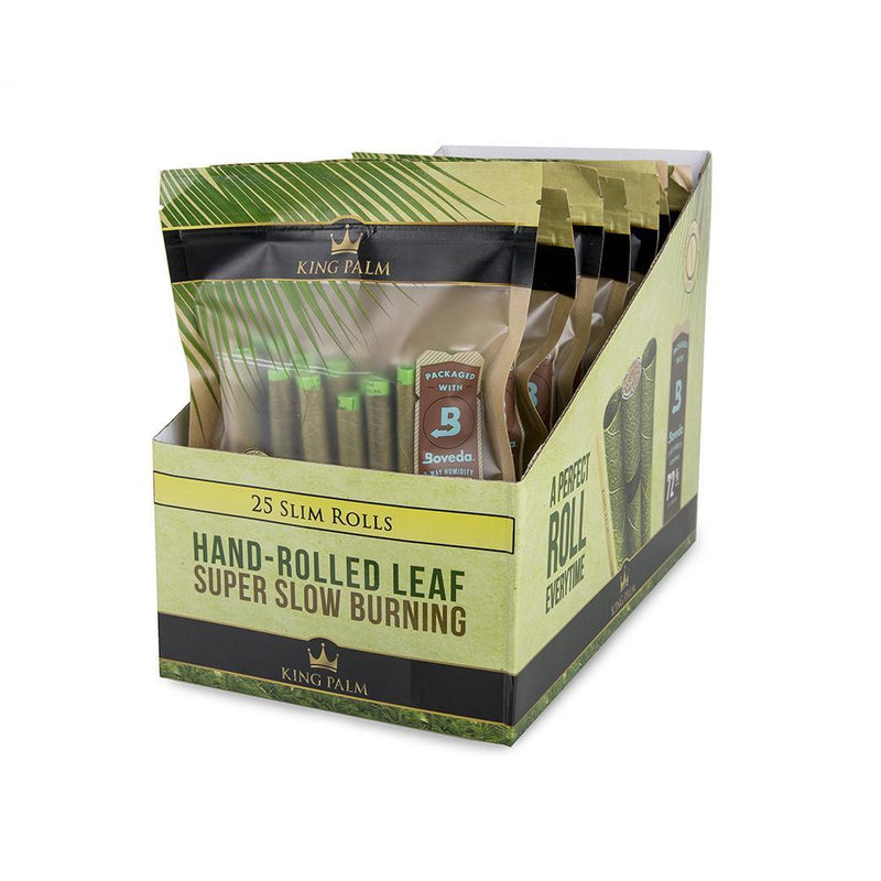 King Palm 25 Slim Rolls w/ Boveda (Box of 8) - DabShack Distribution