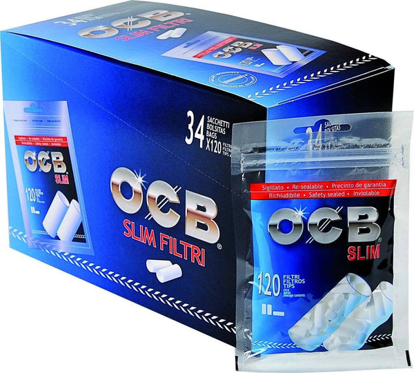 OCB Slim - Filter Tips (Box of 34 Bags) - The Dab Shack