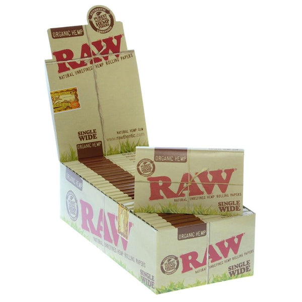 Raw Organic Hemp Single-Wide Double Rolling Paper (Box of 25) - The Dab Shack