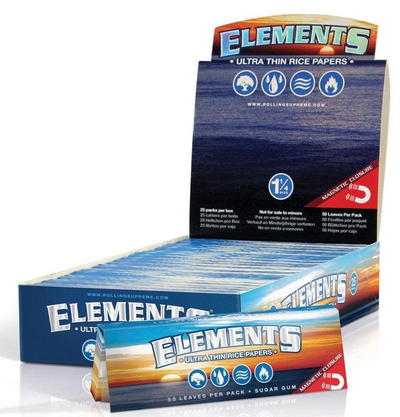 Elements Ultra Thin Rice 1 1/4 - Rolling Paper (Box of 25) - DabShack Distribution