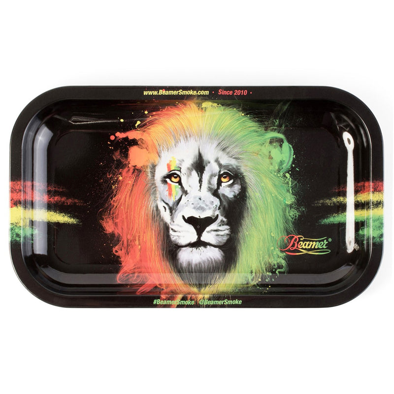 "Beamer Medium Metal Rolling Tray - Rasta Lion (10.75"" X 6.25"") - The Dab Shack"