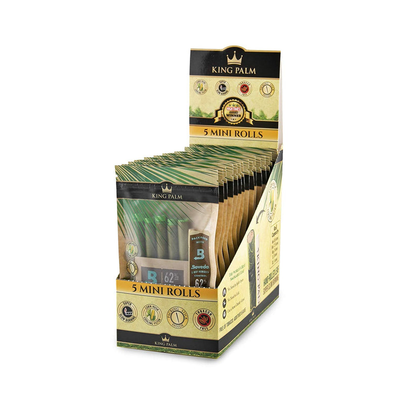 King Palm 5 Mini Size Rolls w/ Boveda (Box of 15) - DabShack Distribution