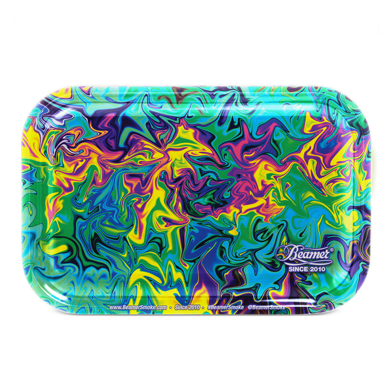 "Beamer Medium Metal Rolling Tray - Dark Trippy (10.75"" X 6.25"") - The Dab Shack"