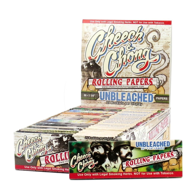 Cheech & Chong Unbleached 1 1/4 Rolling Paper (Box of 25 Booklets) - DabShack Distribution