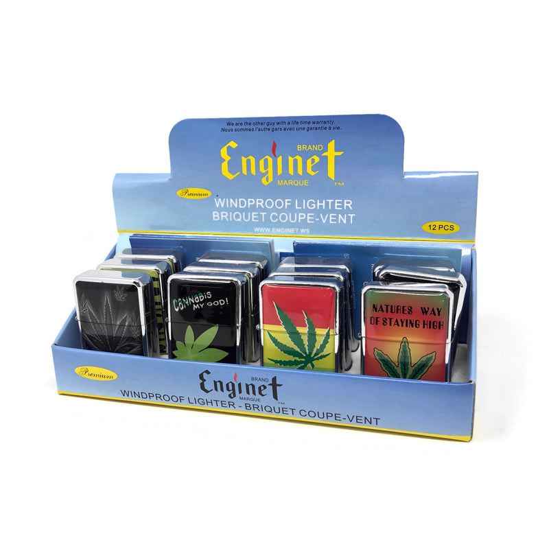 Enginet Windproof Lighter (Box of 12) Cannabis Leaf - The Dab Shack