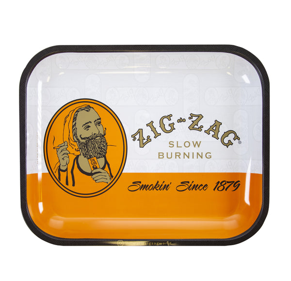 "Zig-Zag Large Metal Rolling Tray - Classic Orange (14"" X 11"")11 - The Dab Shack"
