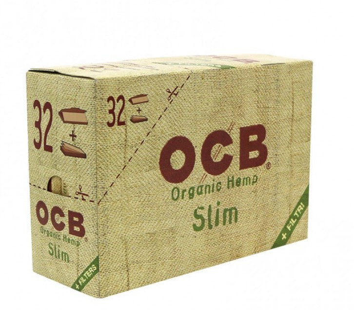 OCB Organic Hemp Slim Rolling Paper + Filters (Box of 32 Booklets + Filters) - The Dab Shack