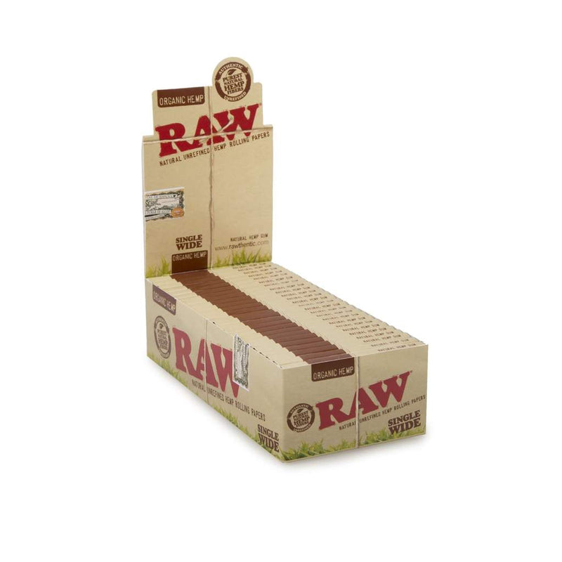 Raw Organic Hemp Single Wide Rolling Paper (Box of 50 Booklets) - DabShack Distribution