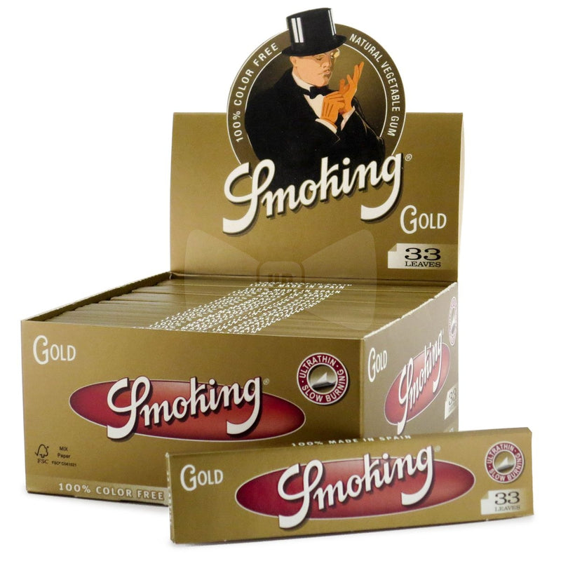 Smoking Gold Slim King Size - Rolling Paper (Box of 50) - The Dab Shack