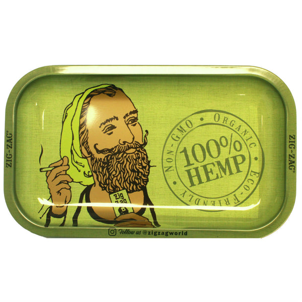 "Zig-Zag Medium Metal Rolling Tray - Organic Hemp (11"" X 7"") - The Dab Shack"