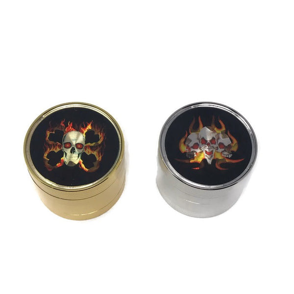 Grinder 4-Part Diamond Teeth Skull Gold/Silver (Box of 6) - The Dab Shack