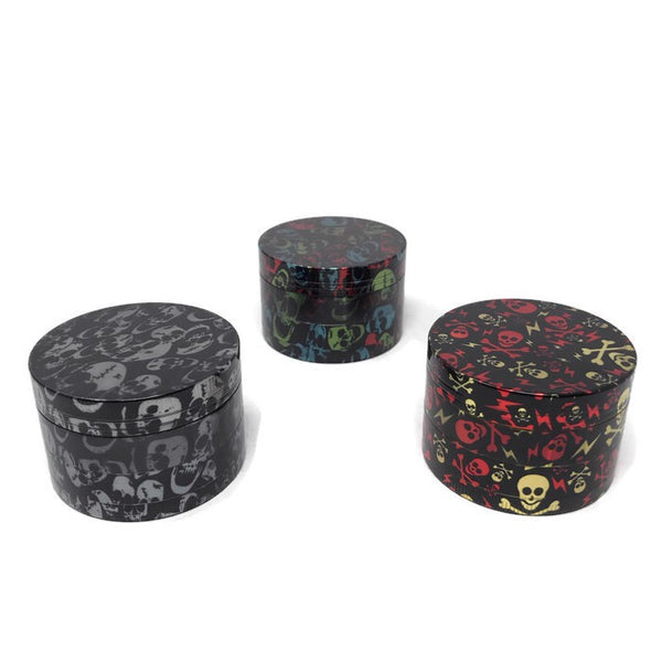 Grinder 4-Part Diamond Teeth Skull Holographic Small (Box of 12) - The Dab Shack