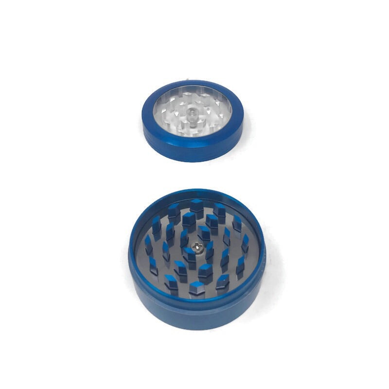 Grinder 2-Part Diamond Teeth Transparent Push-Button (Box of 12) - DabShack Distribution