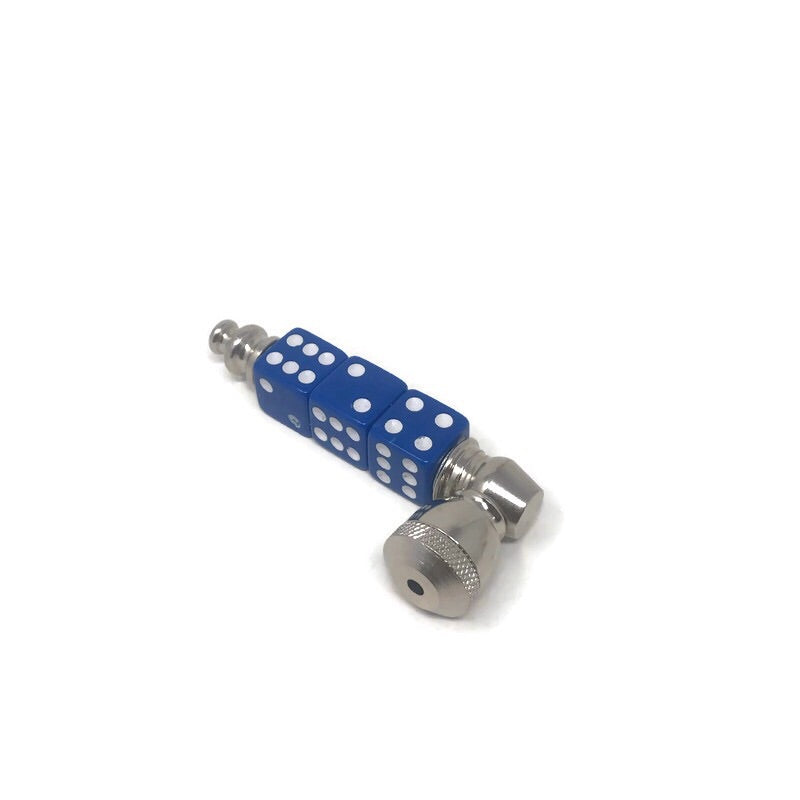 Metal Hand Pipe Blue Dice - The Dab Shack