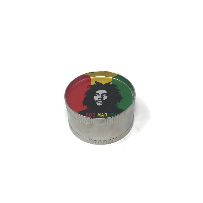 Grinder 3-Part Triangle Teeth Bob Marley (Box of 12) - The Dab Shack