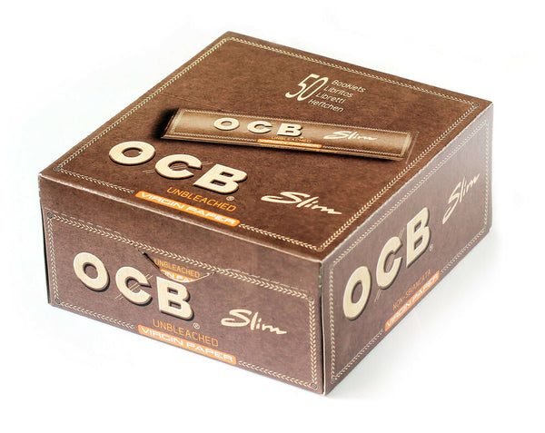 OCB Unbleached Virgin Slim Rolling Paper (Box of 50) - The Dab Shack