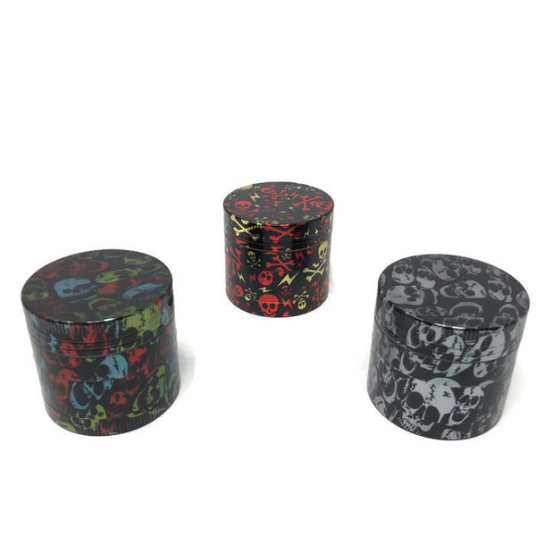 Grinder 4-Part Diamond Teeth Skull Holographic Large (Box of 6) - The Dab Shack