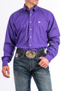 CINCH - MENS SOLID PURPLE BUTTON-DOWN WESTERN SHIRT MTW1103802