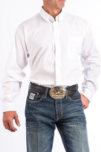 CINCH - MENS SOLID WHITE BUTTON-DOWN WESTERN SHIRT #MT10320020