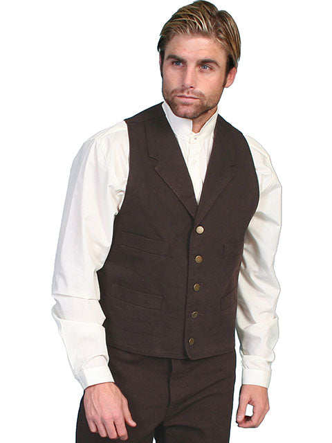 SCULLY - Men's Durable 100% Cotton Canvas Walnut Vest #RW041