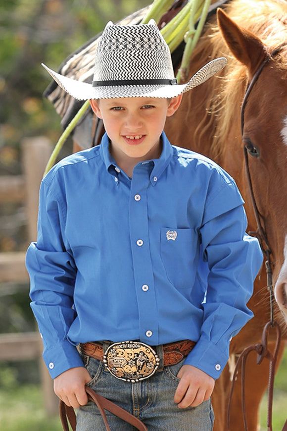 CINCH - Kid's Blue Solid Twill Button Down #MTW7060083