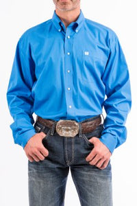 CINCH - MENS SOLID BLUE BUTTON-DOWN WESTERN SHIRT #MTW1103799