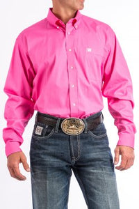 CINCH - MENS SOLID PINK BUTTON-DOWN WESTERN SHIRT #MTW1103320