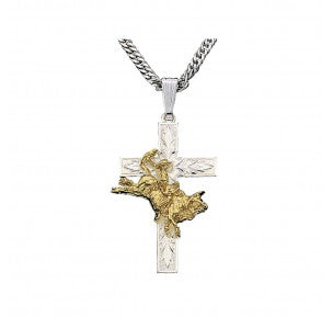MONTANA SILVERSMITHS - Bullrider Cross Necklace #NC37