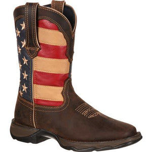 DURANGO - Women's Lady Rebel By Durango Patriotic Pull-On Western Flag Boot #RD4414