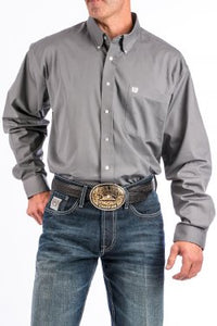 CINCH - MENS SOLID GRAY BUTTON-DOWN WESTERN SHIRT #MTW1104238