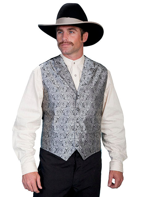 SCULLY - Men's Classic Paisley Grey Vest #RW093