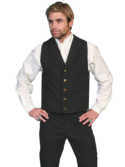SCULLY - Men's Durable 100% Cotton Canvas Black Vest #RW041