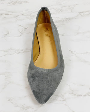 Faux Suede Stacked Heel Flats