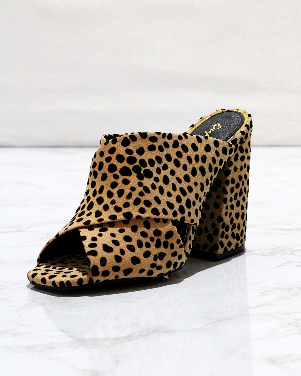 Faux Suede Leopard Print Chunky Heels - Blackbird Boutique