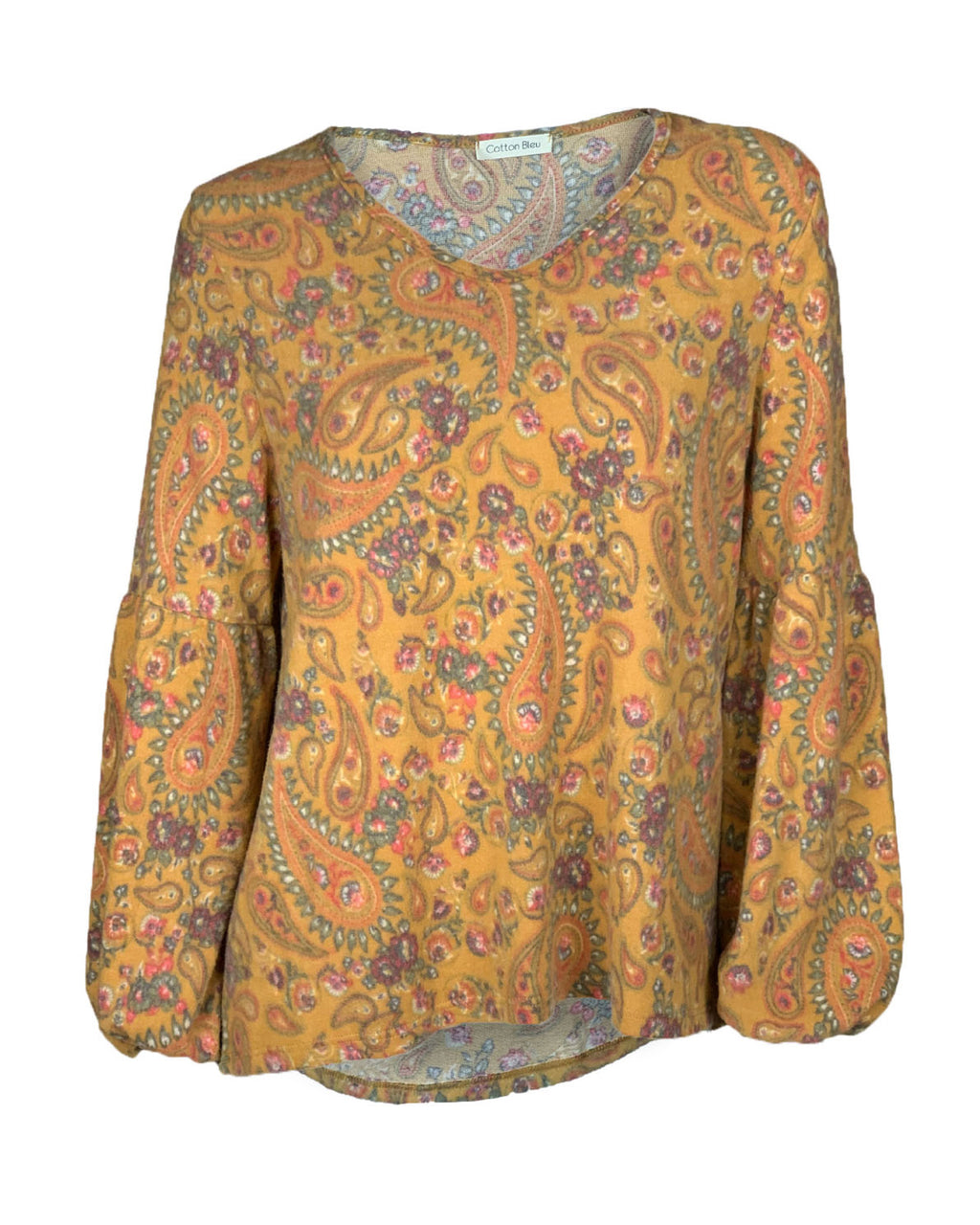 Paisley Print Balloon Sleeve Top