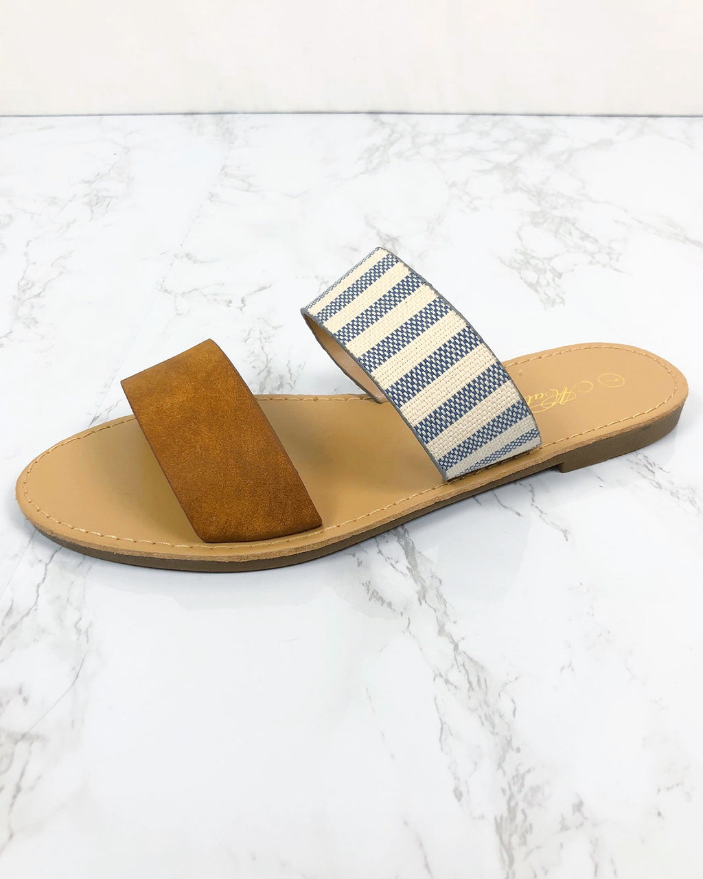 All In Stride Tan Striped Sandals - Blackbird Boutique