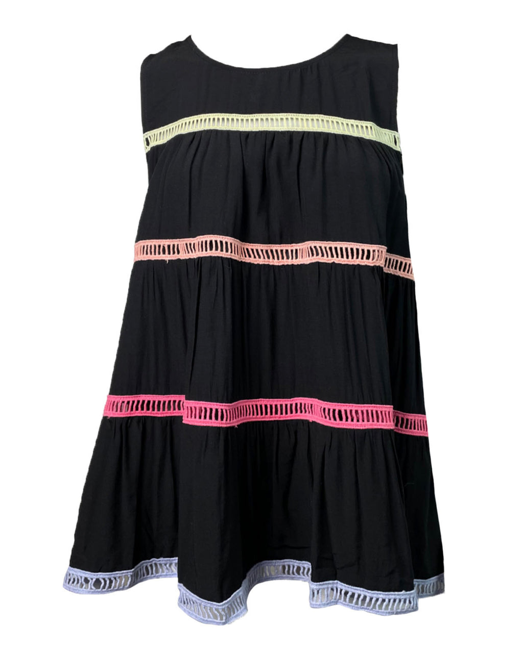 Black Babydoll Top with Colored Stripes
