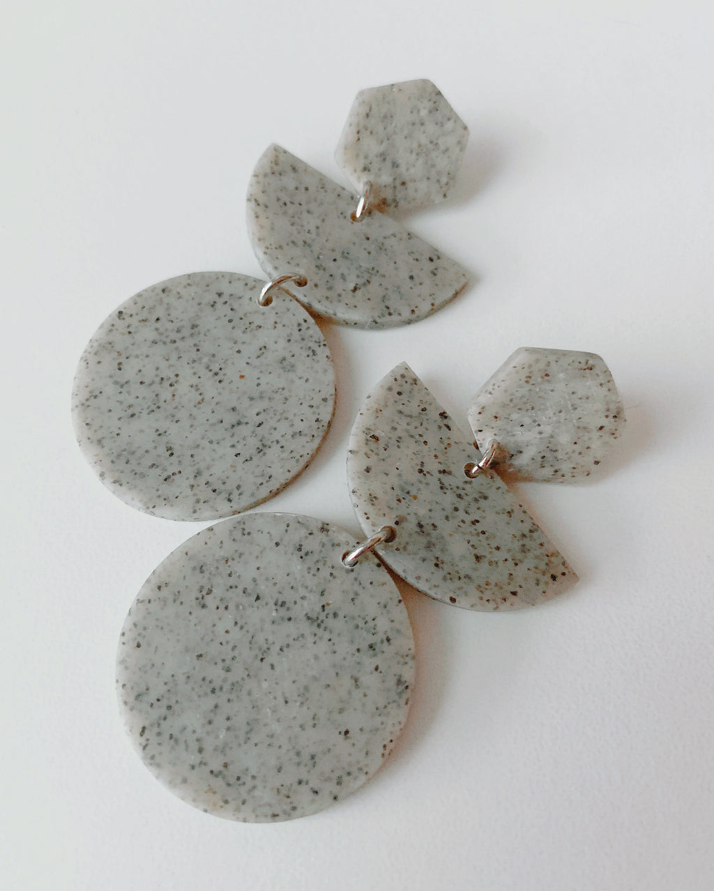 Handmade Concrete-Look Clay Earrings