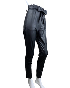 Faux Leather Paper Bag Pants