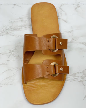 Double Buckle Slide On Sandals