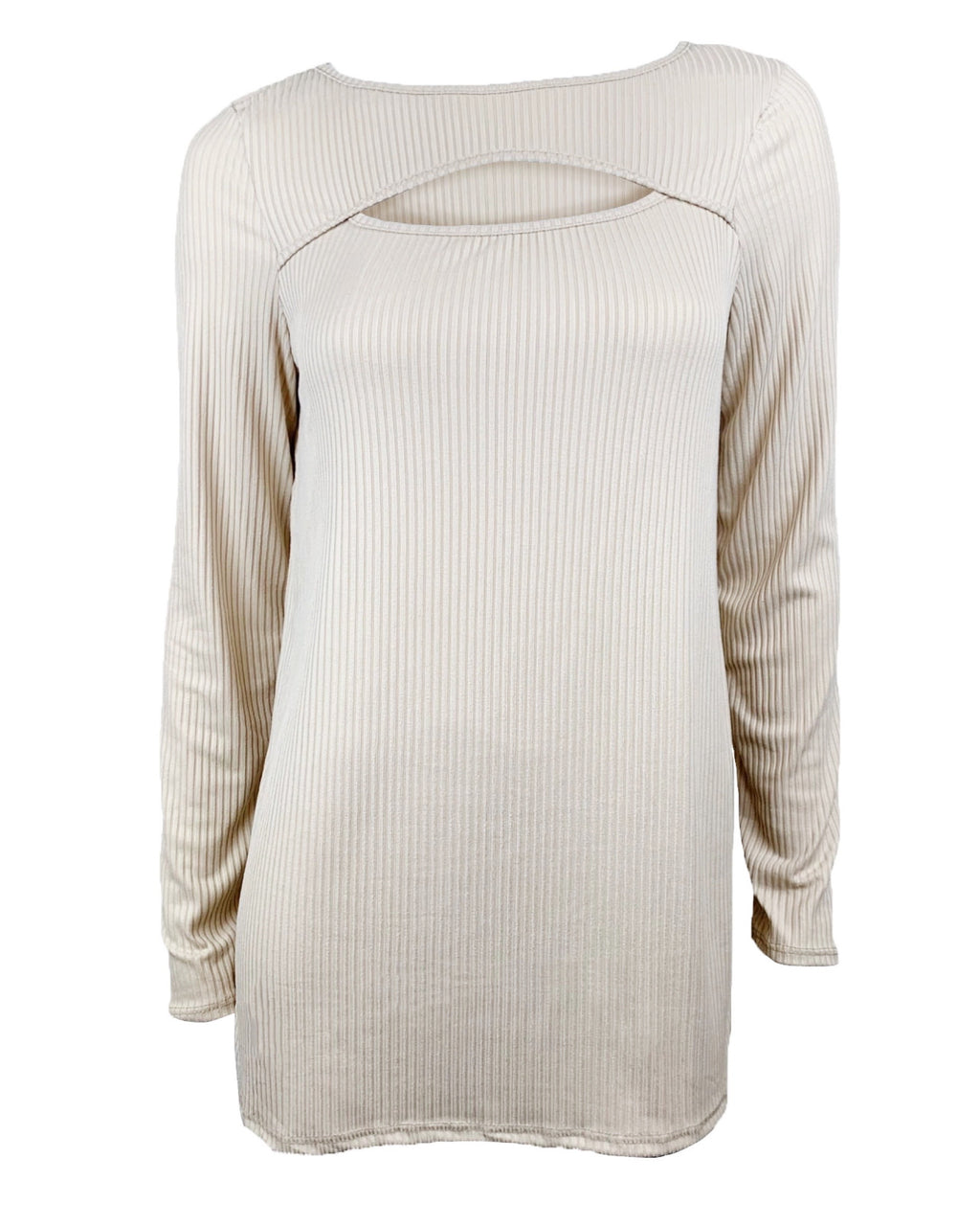 Cutout Long Sleeve Ribbed Tee