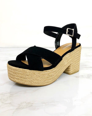 Black Espadrille Platform Sandals - Blackbird Boutique