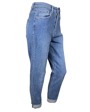 High Waisted Cuffed Stretch Mom Jeans