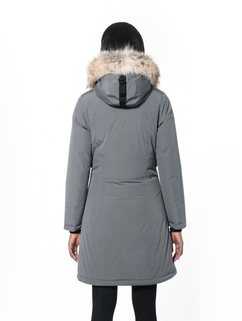 Ladies thigh length down-filled parka with non-removable hood and removable coyote fur trim in Concrete| color